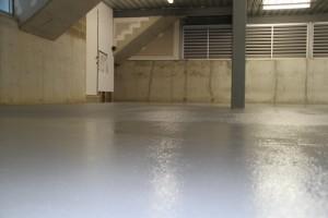 garage floor after repair and textured epoxy flooring
